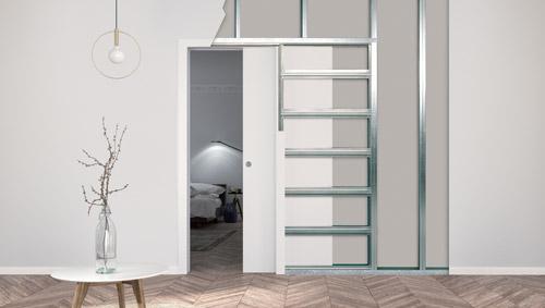 Controtelai per porte filo muro scorrevoli con cartongesso Eclisse